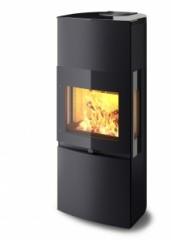 Печь-камин Keddy K 1110 чёрная матовая | боковые стекла | декор. стекл. панели