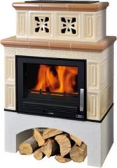 Печь-камин ABX Valencie | белый цоколь | стальная вставка