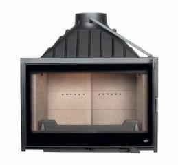 Каминная топка Seguin Confort Visio 8 Plus - Black Line (с серыми кирпичами и двойной подачей воздуха)