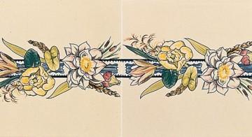 Плитка Stovax Birds & Butterfly с бордюрным и угловым рисунком