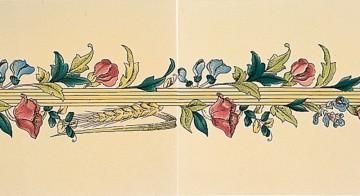 Плитка Stovax Poppy & Wheatsheaf с бордюрным и угловым рисунком