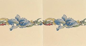 Плитка Stovax Blue Iris с бордюрным и угловым рисунком