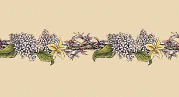 Плитка Stovax Lilac & Fuschia с бордюрным и угловым рисунком