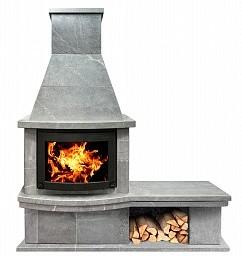 Печь-камин FS7-1+основание+дровница